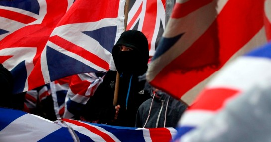 Loyalist protesters demonstrate against restrictions on flying Britain's union flag from Belfast City Hall in central Belfast
